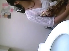 Asian women in public toilet