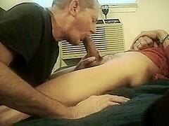 Aged homosexual man sucks neighbors lad