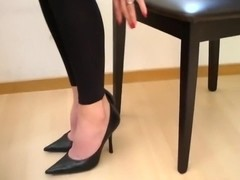 High heels and bare feet at Aga's office