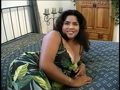 Curvy doxy disrobes and licks on her big boobs then copulates