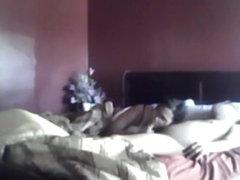 Nerdy mature ebony couple morning sextape