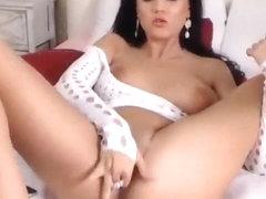 Beautiful brunette KathyJones masturbates