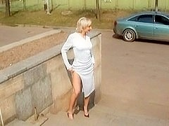 Sexy Golden-Haired Russian mother I'd like to fuck Posing Outdoors