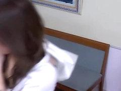 Amazing Japanese enjoys a voyeur massage with some toying