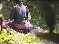 cute Pair Surprised In Park During Sex On Voyeur Camera