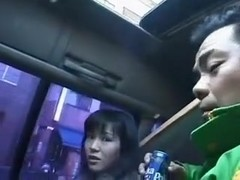 Japanese wench sucks a hard ramrod outside