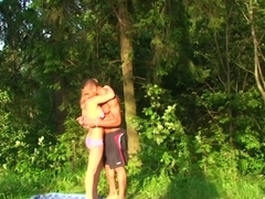 Foursome of hawt students fucking on the forest glade