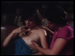 Lovely vintage threesome with two babes with puffy tits