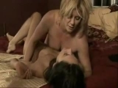 Blond MILF tryes a dark haired girl.
