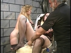 Cute thick lesbo s&m cuties with shaggy bushes play with sex toys in basement