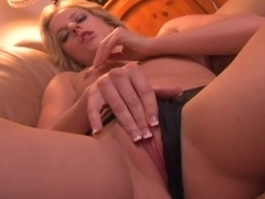 Naughty and hungry blonde prepares her hot snatch
