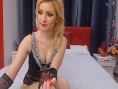 Pretty Blonde Babe Spreads and Toys Pussy on Cam