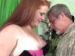 BBW Scarlett Raven gets her shaven pussy filled