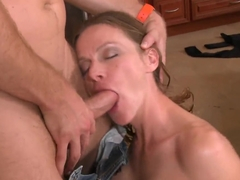 Curly dick gets inside the mouth of cute milf