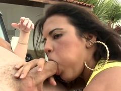 Busty Katrina Drew and Sheila share cock outdoor