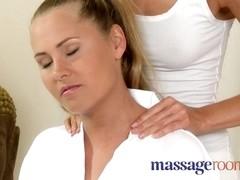 Raunchy lesbian threesome after sensual oil massage