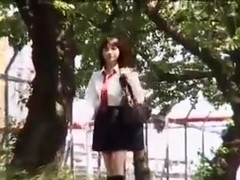 Japanese girl gets fucked on the school bus