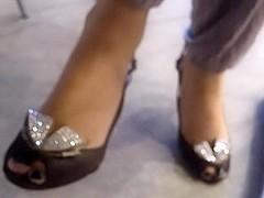 Sexy feet in peep toe heels