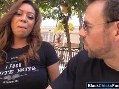 Busty black chick Katt Garcia taking white dick in the ass