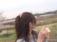 Insatiable hot milf Rina Ishihara sucks cock outdoors