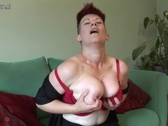 Curly large breasted housewife getting moist