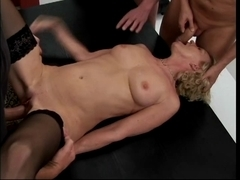 Aged golden-haired receive team-fucked by a gang of males