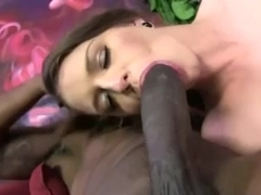 Awesome brunette in threesome with two black guys