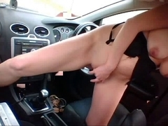 hawt blond bonks car gear shift