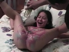 Skinny Latin brunette enjoys a hot wax treatment