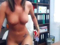 Webcam babe LadyTaniaa playing with her dildo in the office