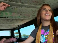 Amateur Ariel sucks big cock in bang bus