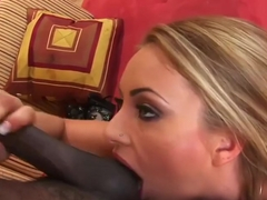 Naughty blonde chick enjoys interracial anal