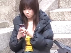 Young concentrated slut playing with her phone during amazing sharking event