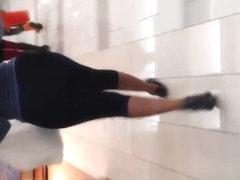 Big black ass in see thru spandex