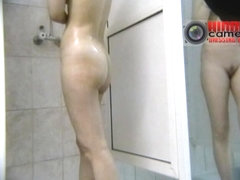 Savoury young gals having a shower on a spy cam video