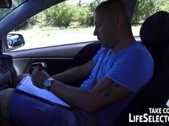 Slutty girl fucks for her license