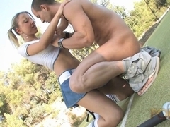 Busty blonde tennis player seduced by her trainer