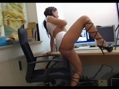 Spied amateur sex with immature slut drilled in the office