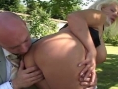 French golden-haired mother i'd like to fuck with large love bubbles fuck in garden