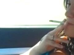 Christina Smoking VS120 in Car