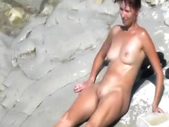 Russian wife by the beach, fully naked