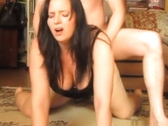 Banging breasty wife on the floor