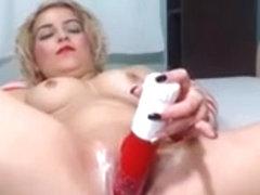 Blonde minx fucks her ass with a dildo on webcam