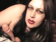 Leather Diva with Gloves - Sucking big Cock - Cum on my Face