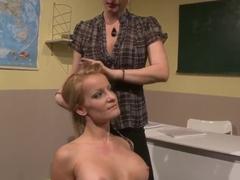 Katy Parker and Valentina Valenti having fun in the classroom