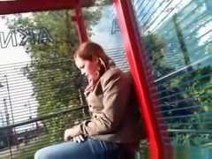 Crazy guy starts jerking off at a train stop, scaring the girl and making her leave.