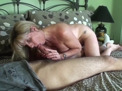 blonde mom and her boy fuck hard