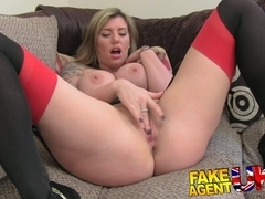 Brit girl gets spanked, fingered and fucked on casting couch