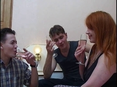 Aged russian redhead drilled by two lads