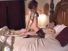 CIMP Brunette black stockings pussy creampie.